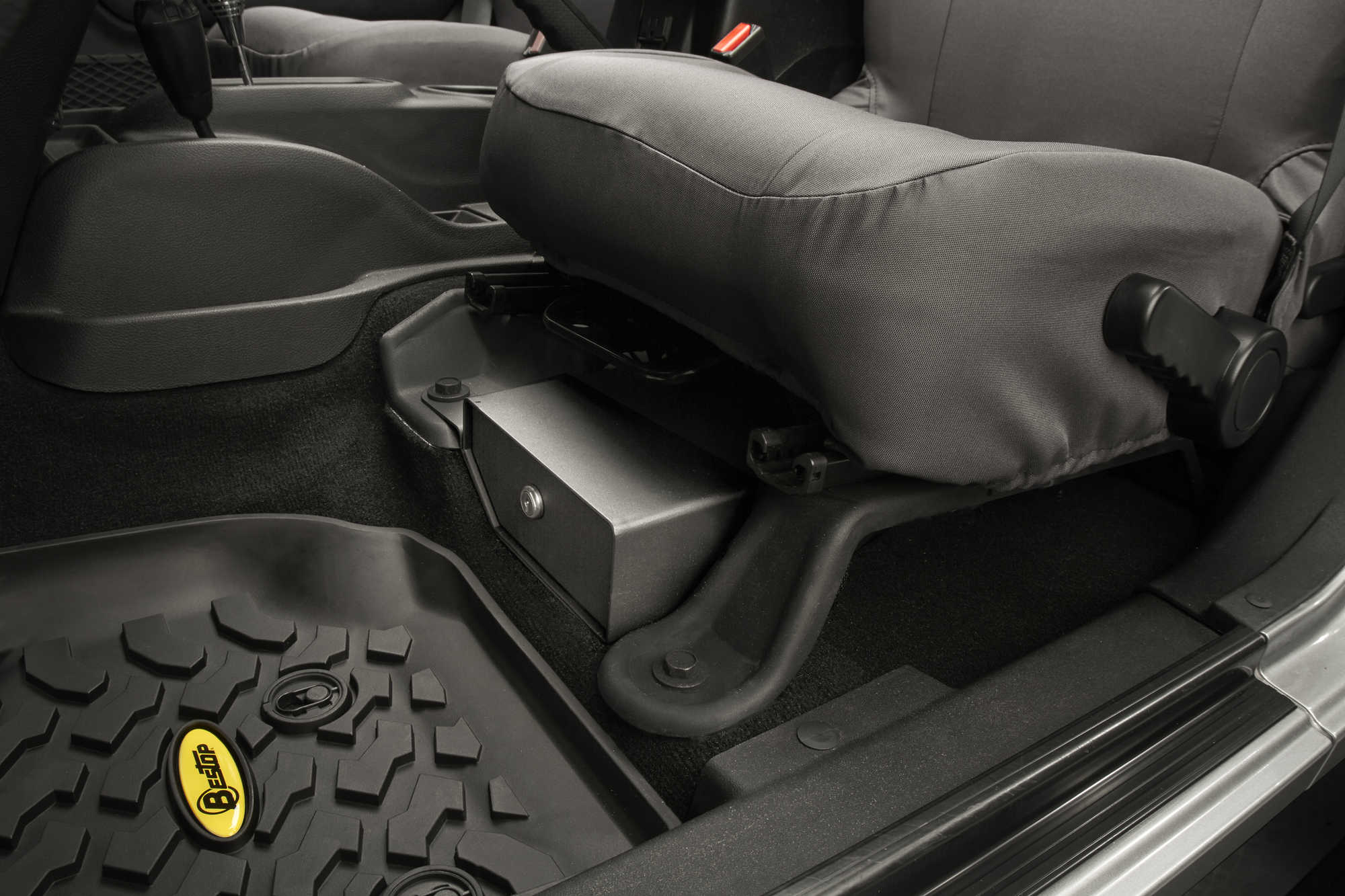 Jeep Wrangler Unlimited Seat Covers >> Bestop® Locking Under Seat Storage Box in Textured Black ...