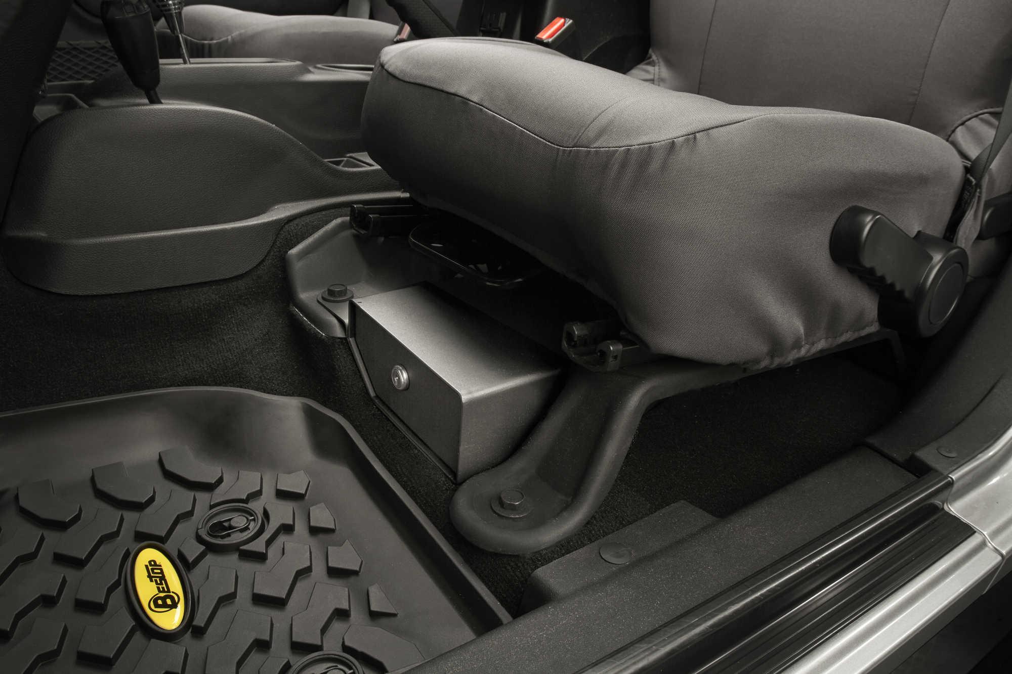 Custom Truck Grilles >> Bestop® Locking Under Seat Storage Box in Textured Black for 07-10 Jeep® Wrangler & 07-15 ...