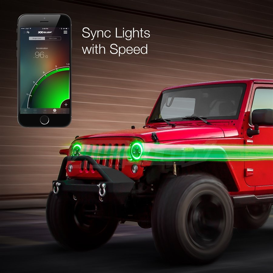 "2pc 7"" Jeep RGB Halo LED Headlight Kit with XKchrome Smartphone App-enabled Bluetooth Jeep JK TJ ..."