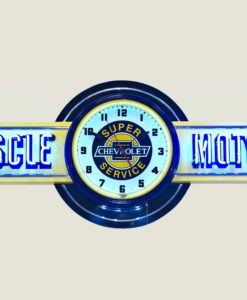 Your Name Garage Neon Clock Sign Yellow Chevy Super