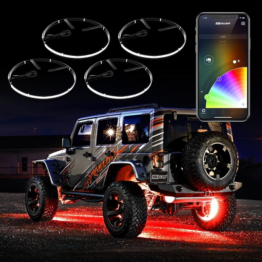 "4pc 15"" Wheel Ring Light Kit XKchrome App Controlled W"