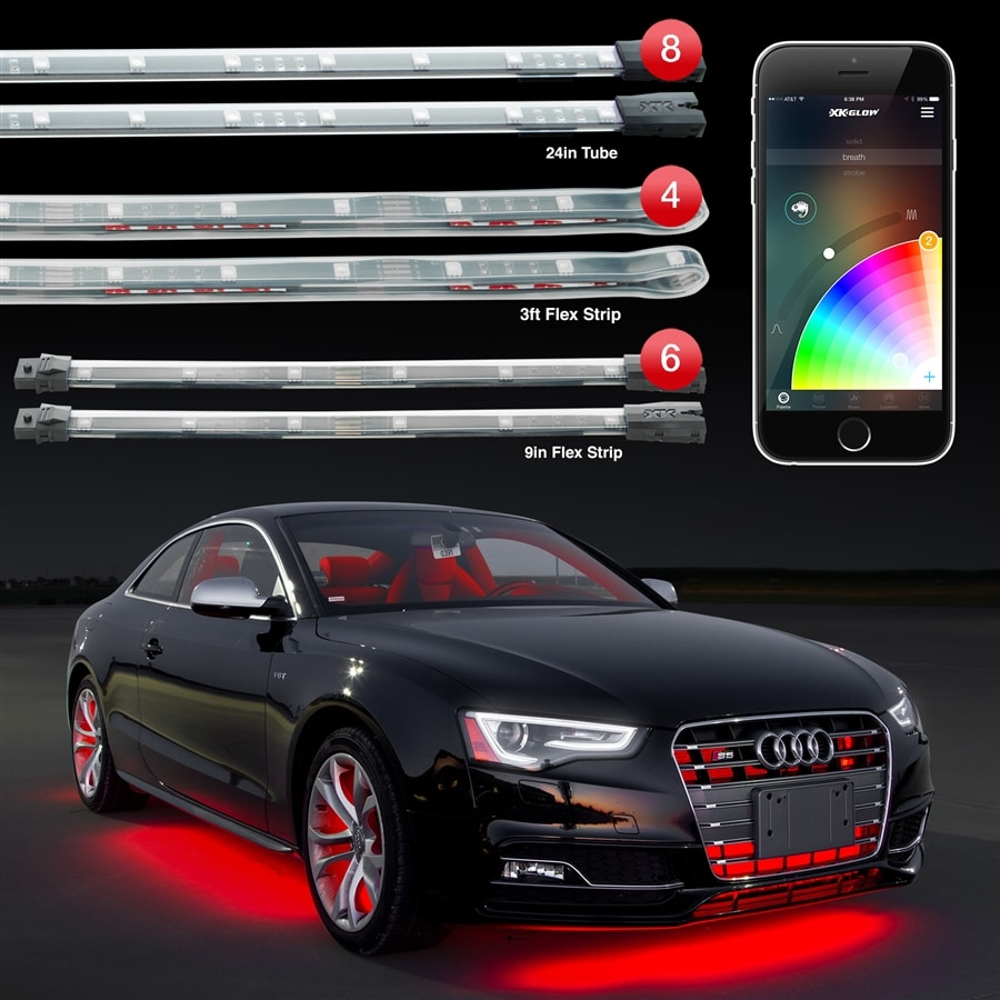 8pc 24 Under Glow 6pc 10 Interior Strips 4pc 3ft Wheel Light Control Car Led Accent Kit